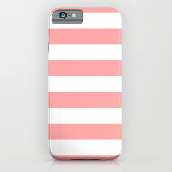 Coral Pink Stripe Horizontal iPhone & iPod Case by BeautifulHomes