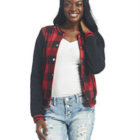 Buffalo Plaid Baseball Jacket | Wet Seal