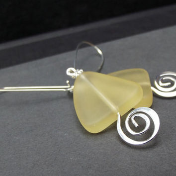 Triangle Earrings:  Yellow Sea Glass and Hammered Silver Swirl Spiral Geometric Arrow Dangle Earrings, Beach Holiday Jewelry