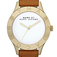 MARC BY MARC JACOBS 'Large Blade' Leather Strap Watch, 40mm
