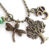 Tree of Life Necklace Dragonfly Yoga Jewelry Namaste Bohemian Jewelry Earthy Unique Gift Under 50 Item T16