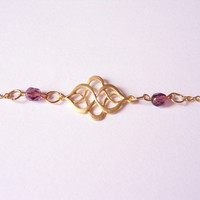 gold plated oriental bracelet, charm bracelet, purple bead bracelet, chain bracelet