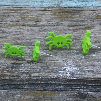 Lime Green Spider Post Earrings Upcycled Buttons Lightweight Small Halloween Set of 2