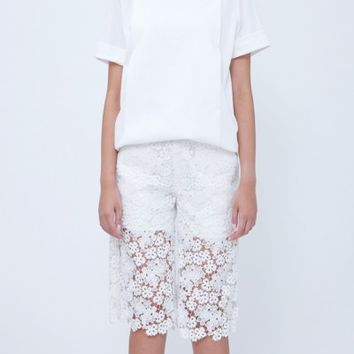 White Cotton Lace Pants
