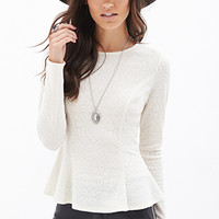 FOREVER 21 Damask Knit Peplum Top Cream