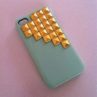 Mint Green x Gold Studs iPhone 4 4s Case