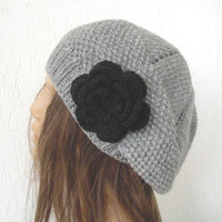 Slouchy Knit Hat - Hand Knit Hat - Womens hat- beret in Silver  Gray - womens Slouch Beanie    Fashion gifts  Winter Accessories