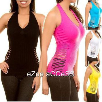 SeXY WoMeNS BaNDeau PeeK-a-Boo LaSeR CuTouT SiDeS FiTTeD CLuB HaLTeR BLouSe ToP