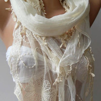 Pearl White  ---- Elegance Shawl / Scarf with Lace Edge......