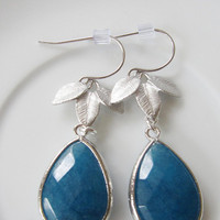 Blue Jade Teardrop Earrings with Silver Three Leaf Petals - Hollywood Glamour Bridesmaid Jewelry