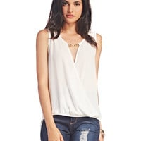 Chain-Link Accent Surplice Tank | Wet Seal