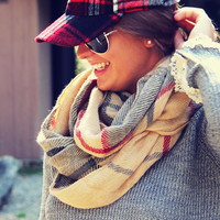 Birch Bark Plaid Scarf - Plaid