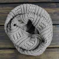 Womens Chunky Knit Scarf, Mocha Knitted Scarf, Oversized Scarf, Chunky Infinity Scarf, Winter Scarves, Snood or Cowl, Fall Scarf, Knit scarf