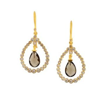 SKU Jewelry Gold Plated CZ Encrusted & Smokey Quartz Earrings