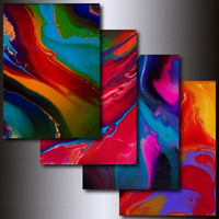 Art Print Set: 4 Multi Colored 5 x 7 Abstract Giclees