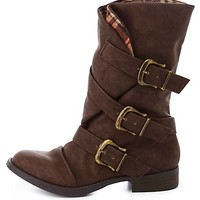 Plaid-Lined Slouchy Belted Moto Boots by Charlotte Russe - Brown