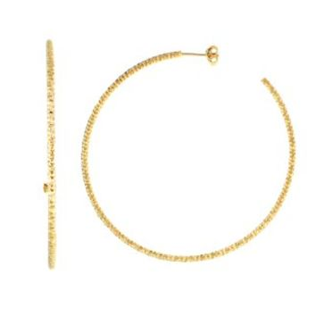 Gold Plated Diamond Cut Hoop Earring