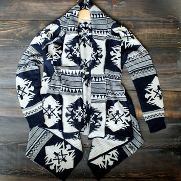 aztec waterfall cardigan | navy tribal print cozy knit sweater oversized southern southwestern fall winter clothings women's