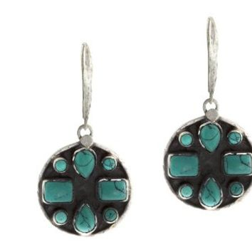 Dangling Oxidized Circle Earrings with Turquoise Stones