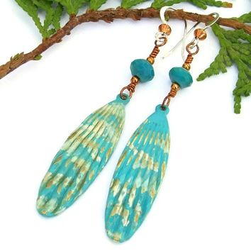 Aqua Turquoise Waterfall Handmade Earrings Brass Long Dangles Antiqued