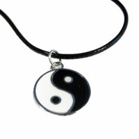 Leather Chain Yin Yang Choker Necklace Pendant Grunge 90s 1990s Festival Lucky Protection Hip Mall
