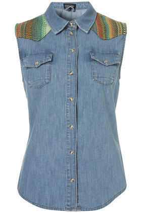 MOTO Sleeveless Tapestry Denim Shirt - Tops  - Clothing