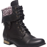 Leopard Foldover Combat Boots | Wet Seal