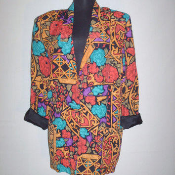 1980s Stained Glass Floral Print Blazer
