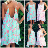 Coming Up Roses Green Floral Chiffon Swing Dress