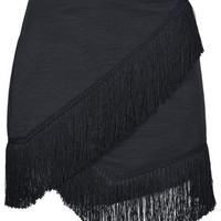 Fringe Trim Wrap Skirt - Black