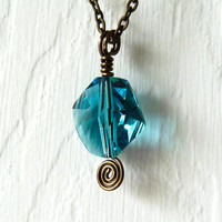 Teal Blue Swarovski Crystal Pendant Necklace