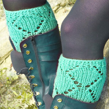 Short Knit Boot Cuffs, Short Leg Warmers. Knitted Boot Cuffs Mint, Boot Socks, Women!s Boot Cuffs, Boot Toppers, Boot Tops, Winter Fashion