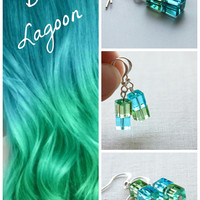 Blue Lagoon Earrings, Geometrical Earrings, Aqua Blue and Green, Two Tone Earrings, Asymmetrical Earrings, Czech Glass Cubes, Modern Minimal