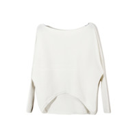 Ribbed Boat Neck Long Sleeve Top