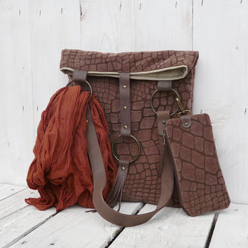 Vegan tote bag Brown Faux leather everyday bag with leather strap and Detachable Purse
