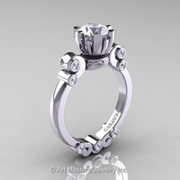 Caravaggio 14K White Gold 1.0 Ct Cubic Zirconia Diamond Solitaire Engagement Ring R607-14KWGDCZ