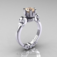 Caravaggio 14K White Gold 1.0 Ct Champagne and White Diamond Solitaire Engagement Ring R607-14KWGDCHD