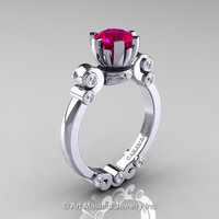 Caravaggio 14K White Gold 1.0 Ct Rose Ruby Diamond Solitaire Engagement Ring R607-14KWGDRR