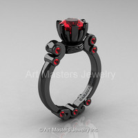 Caravaggio 14K Black Gold 1.0 Ct Rubies Solitaire Engagement Ring R607-14KBGR