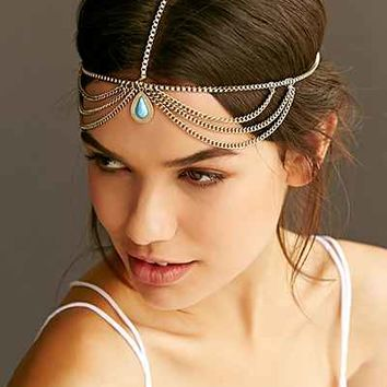 Turquoise Drop Goddess Chain Headwrap - Urban Outfitters