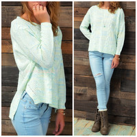 Hartford Mint Cableknit Sweater