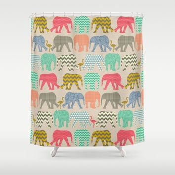 linen baby elephants and flamingos Shower Curtain by Sharon Turner | Society6