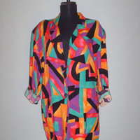 Vintage 1980s Oversize Blazer Multicolored Geometrical Design