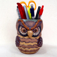 Handless OWL MUG or PENCIL Holder ~ Hand Carved ~ Unique, Original, Whimsical ~ Coffee, Tea, Cocoa ~ Sage Green, Brown, Tan