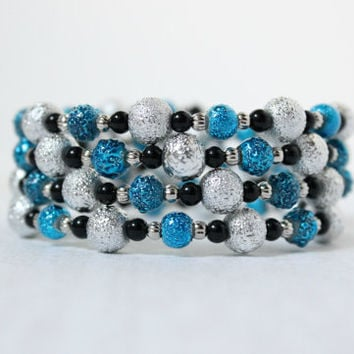 Textured Metallic Teal Blue, Silver and Black Beaded Memory Wire Bracelet - One Size Fits All - Ready to Ship