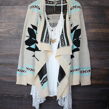 aztec open cardigan | Turquoise sweater cozy bonfire fall winter