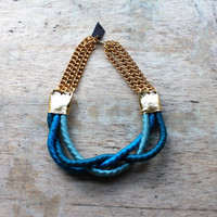 Eudora - Teal Ombre Braid necklace