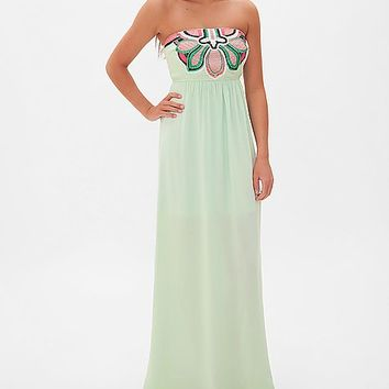 West 36th Embroidered Tube Top Dress