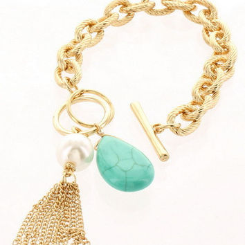 Textured Chain Bracelet with Teardrop Stone & Tassel - Gold/Yellow, Go – H.C.B.