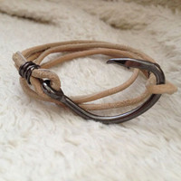 Handmade natural leather fish hook double wrap bracelet